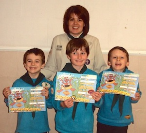 Tom, Campbell and Bradley proudly display their Bronze Chief Scout Award Certificates